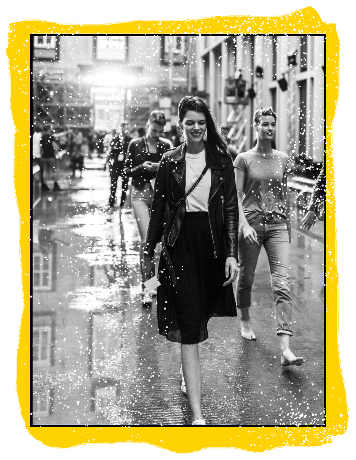 models walking in the rain